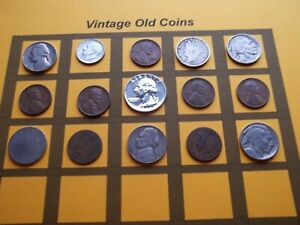 VINTAGE LOT OF OLD COINS 50 TO 125 YEARS OLD WITH SOME SILVER  15 COINS   OC81