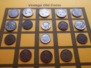 VINTAGE LOT OF OLD COINS 50 TO 125 YEARS OLD WITH SOME SILVER  16 COINS   OC88