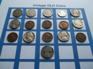 ESTATE LOT OF OLD COINS 50 TO 125 YEARS OLD WITH SOME SILVER  16 COINS   OC35