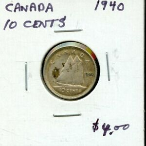 1940 CANADA 10 CENTS SILVER COIN  FK785