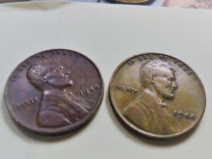 1944 P   X  2  WHEAT CENTS ;;BOTH  LAMINATION ERRORS WITH PEEL   T244P