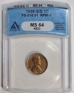 1938 S/S WHEAT CENT 1C ANACS CERTIFIED MS 64 RED FS 016.51 RPM 1