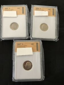 COIN LOT THREE DIME 2005 2007 SLABBED DEALER'S LOT 613 DENVER