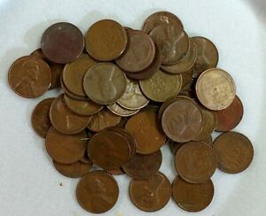 A ROLL OF WHEAT PENNIES ALL FROM THE 1940'S AND 50'S