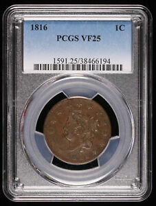 1816 CORONET HEAD LARGE CENT  PCGS VF25 466194