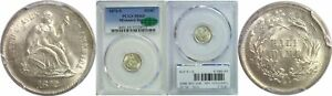 1872 S SEATED LIBERTY HALF DIME PCGS MS 65 CAC MINTMARK BELOW BOW