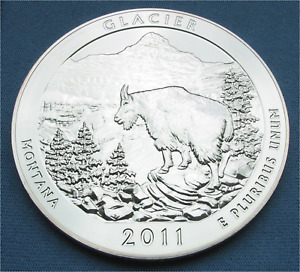 2011 AMERICA THE BEAUTIFUL 5 OZ .999 SILVER GLACIER NATIONAL PARK MONTANA ATB