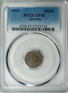 1854 H10C ARROWS SEATED LIBERTY HALF DIME PCGS XF45  ROTATED DIES MINT ERROR