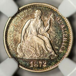 1872 S H10C SEATED LIBERTY HALF DIME MINTMARK BELOW BOW NGC AU58  TONED