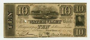 1837 $10 THE WATERVLIET BANK   WEST TROY NEW YORK NOTE