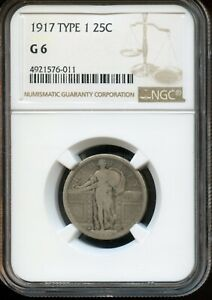 1917 TYPE 1 25C NGC G 6  GOOD 6  STANDING LIBERTY SILVER QUARTER DOLLAR TA702