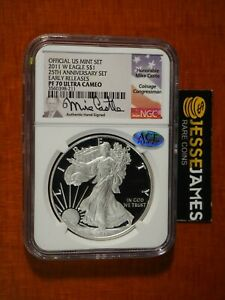 Click now to see the BUY IT NOW Price! 2011 W PROOF SILVER EAGLE NGC PF70 MIKE CASTLE SIGNED FROM 25TH ANNIVERSARY SET