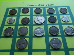 ESTATE LOT OF OLD COINS 50 TO 125 YEARS OLD WITH SOME SILVER  16 COINS   OC4