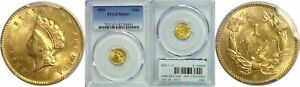 1855 $1 GOLD COIN PCGS MS 63
