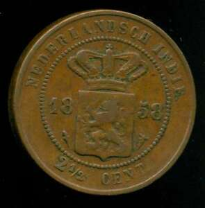 NETHERLANDS INDIES COIN 2 1/2 CENTS 1858 COPPER KM 308 VF