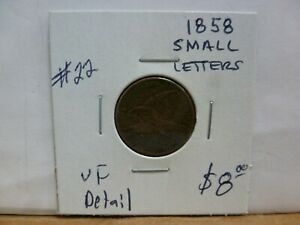 1858 SL  SMALL LETTERS  FLYING EAGLE PENNY.  22