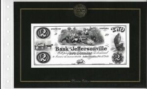 AMERICAN PAPER MONEY COLLECTION 1858 THE BANK OF JEFFERSONVILLE $2 NOTE