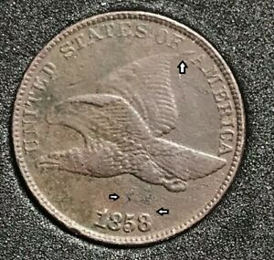 1858/7 FLYING EAGLE CENT S 1 SNOW 1 MINT ERROR STRONG OVERDATE PQ X88572