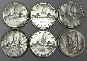 Click now to see the BUY IT NOW Price! 6X CANADA SILVER DOLLARS 1ST QUEEN ELIZABETH YOUNG HEAD 1953 54 55 56 57 & 1958