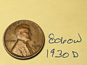 1930 D 1C BN LINCOLN CENT 8060W WHEAT PENNY