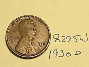 1930 D 1C BN LINCOLN CENT 8295W WHEAT PENNY