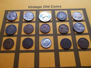VINTAGE LOT OF OLD COINS 50 TO 125 YEARS OLD WITH SOME SILVER  15 COINS   OC87