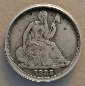 1838 O LIBERTY SEATED HALF DIME LOW MINTAGE ANACS GRADED FINE DETAILS