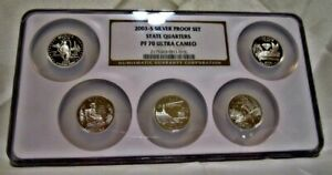 Click now to see the BUY IT NOW Price! 2003 S SILVER STATE QUARTER 5 COIN SET NGC PF 70 ULTRA CAMEO. MULTI COIN HOLDER