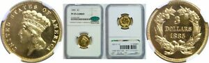 Click now to see the BUY IT NOW Price! 1885 $3 GOLD COIN NGC PR 65 CAM CAC