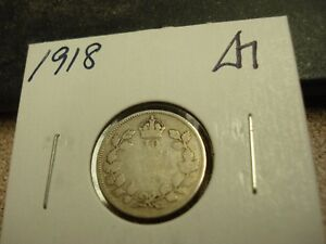 1918   CANADA 10 CENT   SILVER CANADIAN DIME