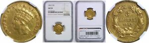 1863 $3 GOLD COIN NGC AU 53