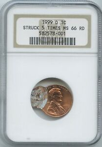 1999 D 1 STRUCK 5 TIMES NGC MS 66 RED