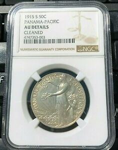1915 S PANAMA PACIFIC INTERNATIONAL EXPO COMMEMORATIVE HALF DOLLAR NGC AU DETAIL