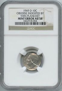1969 D 10 INDENTED BY DETACHED CLAD LAYER NGC AU 58