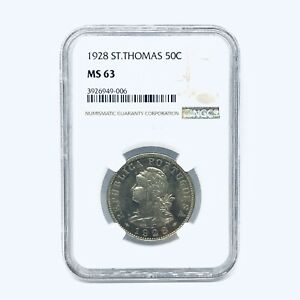 Click now to see the BUY IT NOW Price!  JCR_M  PORTUGAL   ST. THOMAS AND PRINCE   50 CENTAVOS 1928 NGC MS 63