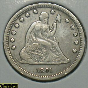 1861 U.S. SILVER SEATED LIBERTY QUARTER 25C XF DETAILS CIVIL WAR YEAR