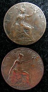 LOT OF 2 FARTHING  1917 GREAT BRITAIN UK ENGLAND WORLD COINS 112
