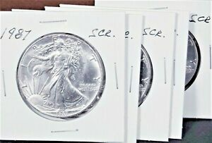 1987 AMERICAN SILVER EAGLE COIN BU 1 OZ US $1 DOLLAR UNCIRCULATED SCRATCHED