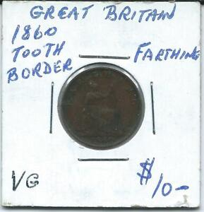 GREAT BRITAIN 1860 FARTHING TOOTH BORDER