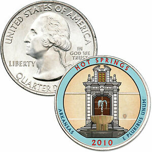 2010  HOT SPRINGS NATIONAL PARK QUARTER ARKANSAS  COLORIZED UNCIRCULATED