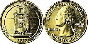 2010  HOT SPRINGS NATIONAL PARK QUARTER ARKANSAS  24KT GOLD PLATED UNCIRCULATED