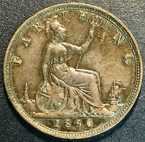 1890 GREAT BRITAIN FARTHING COIN   VF CONDITION