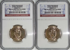 2008 P & D 5TH PRESIDENT JAMES MONROE MS64 FIRST DAY OF ISSUE 2 COIN SET
