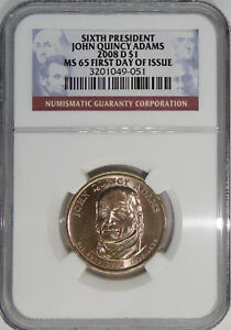 2008 D 6TH PRESIDENT JOHN QUINCY ADAMS MS65 FIRST DAY OF ISSUE