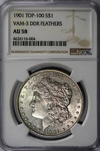 Click now to see the BUY IT NOW Price! 1901   KEY DATE  MORGAN NGC AU58 VAM 3 SHIFTED EAGLE DOUBLED DIE REVERSE