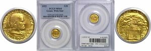 1922 $1 GRANT WITH STAR GOLD COMMEMORATIVE PCGS MS 64