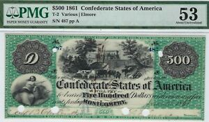 Click now to see the BUY IT NOW Price! T 2 PF 1 $500 CONFEDERATE PAPER MONEY 1861   PMG ABOUT UNC 53    MONTGOMERY