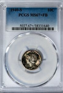 Click now to see the BUY IT NOW Price! 1940 S MERCURY DIME PCGS MS67 FB SUPERB GEM FULL BANDS COLORFUL TONING