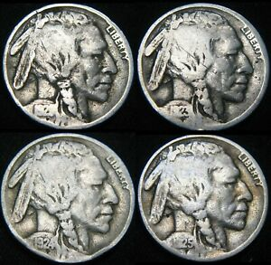 FOUR COINS  1921 1923 1924 1925 BUFFALO NICKELS 5  FY31CX