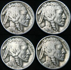 FOUR COINS  1924 1925 1926 1927 BUFFALO NICKELS 5  FY33VP